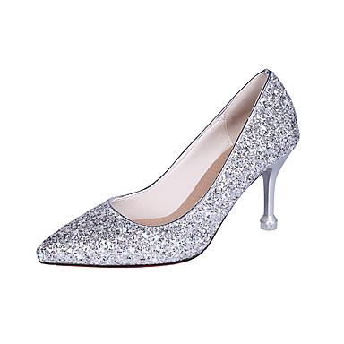 ราคาถูก ส้นรองเท้า-สำหรับผู้หญิง รองเท้าส้นสูง ส้นลูกแมว Pointed Toe หนังสิทธิบัตร อังกฤษ ฤดูใบไม้ผลิ & ฤดูใบไม้ร่วง สีทอง / สีเงิน / สีชมพู