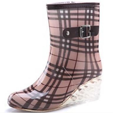 voordelige Dameslaarzen-Dames Laarzen Regenlaarzen Sleehak PVC Kuitlaarzen Lente Zwart / Bruin / Licht Roze