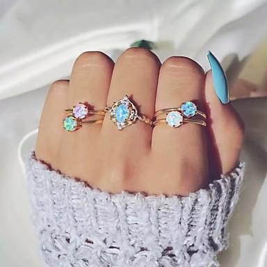 billige Motering-Dame Ring Ring Set 5pcs Gull Strass Opal Legering Enkel Klassisk Vintage Daglig Gate Smykker Klassisk Retro Kul Smuk