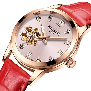 preiswerte Automatik Uhren-Damen Mechanische Uhr Skelett Weiß Rot Rosa Echtes Leder Chinesisch Automatikaufzug Rote Weiss + rot Weiss + Rosa Wasserdicht Transparentes Ziffernblatt Kreativ 30 m 1 Stück Analog