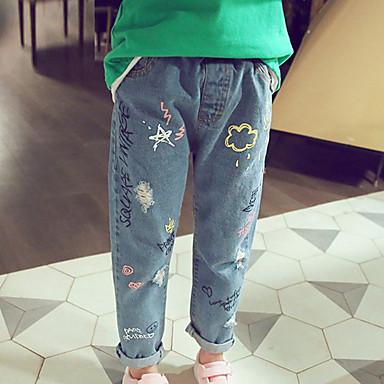 olcso Lány nadrágok és cicanadrágok-Dongguan pby_09wz gyermekruházat farmer férfi és női személyiség graffiti nyomtatás lyuk alkalmi láb nadrág meteor zuhany farmer _100 méter