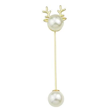 Dame Nåler geometriske Rådyr Unikt design Søt Mote Perle Brosje Smykker Hvit / Hvit Til Jul Engasjement Daglig Arbeid
