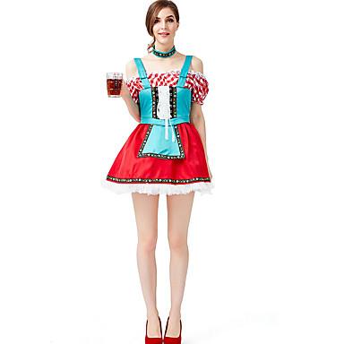 Oktoberfest Dirndl Trachtenkleider Mulheres Vestido Bávaro Ocasiões Especiais Vermelho