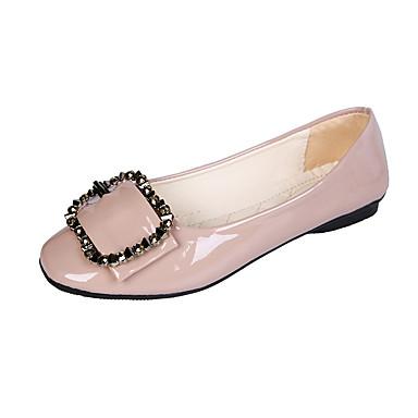 Dame Flate sko Flat hæl Kvadratisk Tå Rhinsten PU Klassisk / minimalisme Vår sommer / Høst vinter Grå / Rød / Lys Rosa