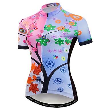 21Grams Γυναικεία Κοντομάνικο Φανέλα ποδηλασίας Ροζ Άνθινο / Βοτανικό Ποδήλατο Αθλητική μπλούζα Μπολύζες Ποδηλασία Βουνού Ποδηλασία Δρόμου Αναπνέει Ύγρανση Γρήγορο Στέγνωμα Αθλητισμός / Ελαστίνη