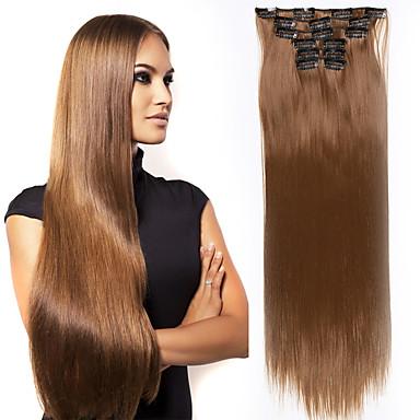 Περιποίηση μαλλιών Αξεσουάρ Στολών Προέκταση Ίσιο Ματ Remy Τρίχα Συνθετικά μαλλιά 24 εκ Hair Extension Κουμπωτό Κλιπ Μέσα / Πάνω Τουπή Σκούρο Καφέ Ανοικτό Καφέ 6 τεμάχια / παρτίδα