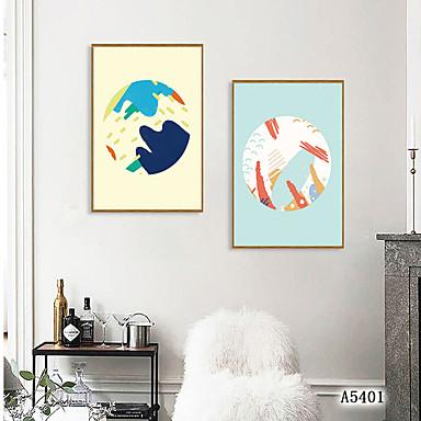 Εκτύπωση Τέχνης σε Κορνίζα Σετ σε Κορνίζα - Αφηρημένο Κινούμενα σχέδια Πολυστυρένιο Εικόνα Wall Art