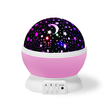 Yiwu ho1070o21gh91361 fargerik drømrotasjons projeksjonslampe (rosa stjerner måne)