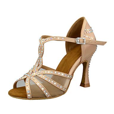 preiswerte Meist Verkaufte-Damen Tanzschuhe Satin Schuhe für den lateinamerikanischen Tanz Kristall Verzierung / Glitzer / Crystal / Strass Absätze Keilabsatz Maßfertigung Schokolade / Schwarz / Mandelfarben / Leistung