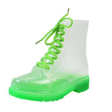 preiswerte Schuhe und Taschen-Damen Stiefel Regenstiefel Blockabsatz Runde Zehe PVC Mittelhohe Stiefel Freizeit Sommer Orange / Gelb / Grün / Einfarbig