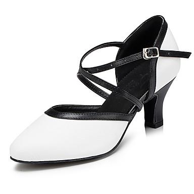 Γυναικεία Μοντέρνα παπούτσια / Αίθουσα χορού PU Cross Strap Τακούνια Κόψιμο Κουβανικό Τακούνι Εξατομικευμένο Παπούτσια Χορού Μαύρο / Άσπρο / Επίδοση