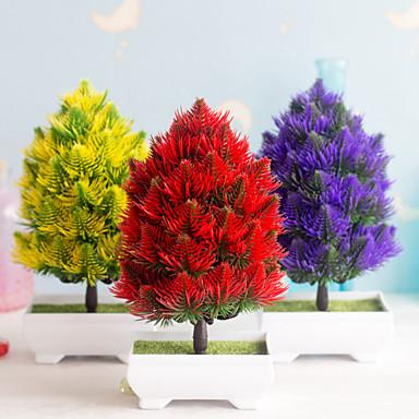 1pc προσομοίωση Χριστουγεννιάτικο δέντρο μπονσάι πλαστικό πράσινο φυτό πλαστά γλάστρα φύτευσης μικρές διακοσμήσεις στο σπίτι διακοσμητικά επιφάνειας εργασίας