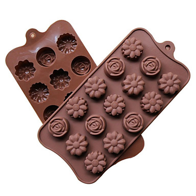 Yiwu pho_06gddiy Σιλικόνη 15 με 3 διαφορετικά καλούπια σοκολάτας σε σχήμα λουλουδιού 21,7x10,5x1,7cm