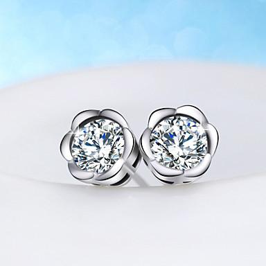 levne Dámské šperky-Dámské Peckové náušnice Solitaire Kytky Sladký Módní S925 Sterling Silver Náušnice Šperky Stříbrná Pro Dovolená Práce 1 Pair