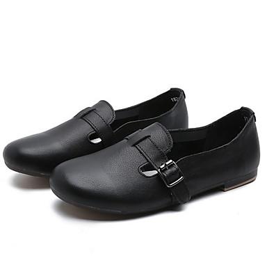 levne Dámské boty s plochou podrážkou-Dámské Bez podpatku Rovná podrážka Oblá špička Přezky Kůže Léto Černá / Mandlová / Bílá