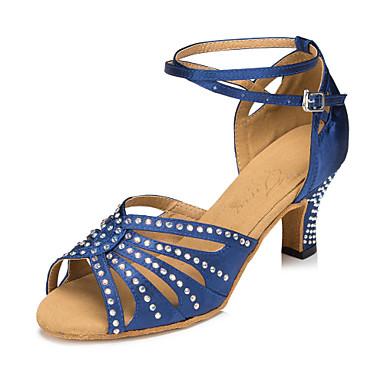 Γυναικεία Παπούτσια χορού λάτιν Σατέν Cross Strap Τακούνια Τεχνητό διαμάντι / Κρύσταλλο / Στρας Κουβανικό Τακούνι Εξατομικευμένο Παπούτσια Χορού Μπλε / Επίδοση
