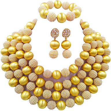 levne Dámské šperky-Dámské Náhrdelník Náušnice Náramek Boncuklar Šťastný Elegantní Afrika Napodobenina perel Náušnice Šperky Zelená / Tmavě červená / Zelenomodrá Pro Svatební Párty Dar Denní Festival 1 sada
