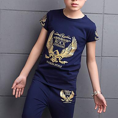 povoljno Odjeća za dječake-Djeca Dijete koje je tek prohodalo Dječaci Osnovni Punk & Gotika Print Print Kratkih rukava Kratka Kratak Pamuk Komplet odjeće Crn