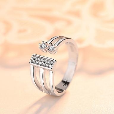 billige Motering-personlig tilpasset Klar Kubisk Zirkonium Ring S925 Sterling Sølv Klassisk Indgraveret Gave Love Festival Geometrisk Form 1pcs Sølv