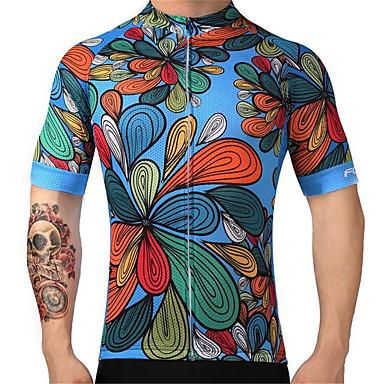 21Grams Άνθινο / Βοτανικό Ανδρικά Κοντομάνικο Φανέλα ποδηλασίας - Μπλε Ποδήλατο Αθλητική μπλούζα Μπολύζες Αναπνέει Ύγρανση Γρήγορο Στέγνωμα Αθλητισμός Τερυλίνη Ποδηλασία Βουνού Ποδηλασία Δρόμου Ρούχα