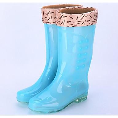 voordelige Dameslaarzen-Dames Laarzen Regenlaarzen Lage hak PVC Kuitlaarzen Lente Oranje / Blauw / Roze