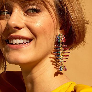 povoljno Modne naušnice-Žene Viseće naušnice Ribe Stilski Slatka Style Imitacija dijamanta Naušnice Jewelry Duga Za Dnevno 1 par