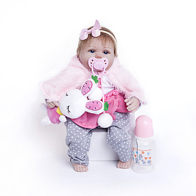 cheap Reborn Doll-18 inch Reborn Doll Baby Girl Kids / Teen Cloth 3/4 Silicone Limbs and Cotton Filled Body with Clothes and Accessories for Girls' Birthday and Festival Gifts