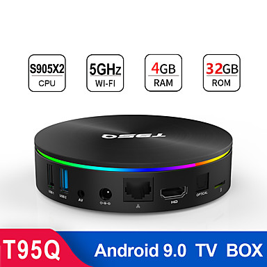 t95q android 8.1 smart tv-boks 4gb ram 32g rom amlogic s905x2 quad core 2.4g / 5g dual wifi bt4.1 1000m usb3.0 4k mediespiller