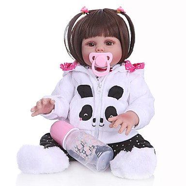 NPKCOLLECTION Κούκλες σαν αληθινές Παιδιά Μωρά Κορίτσια 20 inch Σιλικόνη πλήρους σώματος Σιλικόνη - Ασφάλεια Δώρο Τεχνητή εμφύτευση Brown Eye Παιδικά Κοριτσίστικα Παιχνίδια Δώρο