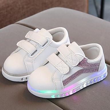 Jente LED / Komfort / Lysende sko PU Treningssko Små barn (4-7år) Svart / Sølv / Rosa Høst