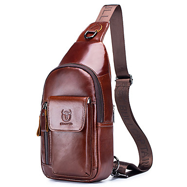 cheap BULLCAPTAIN®-(BULLCAPTAIN) 2019 New Men's Leather Shoulder-Slung Cell Phone Pocket Chest Bag