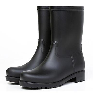 voordelige Dameslaarzen-Dames Laarzen Regenlaarzen Blokhak PVC Kuitlaarzen Lente Zwart / Blauw