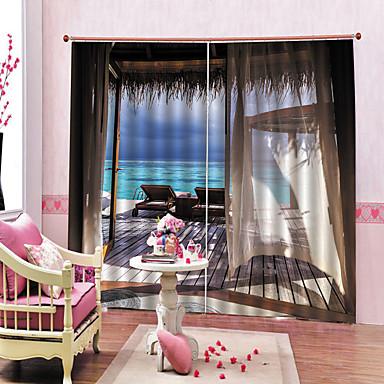 ευρωπαϊκή διακόσμηση εσωτερικών χώρων 3d καθαρή εκτύπωση όμορφη θάλασσα αδιάβροχη mouldproof ντους κουρτίνες συσκότιση θερμότητας / ηχομόνωση για υπνοδωμάτιο / σαλόνι