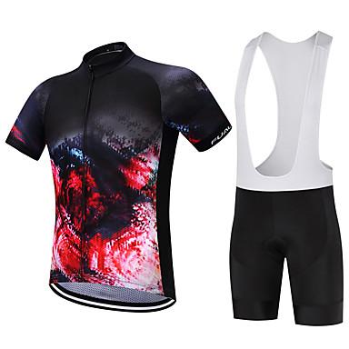 FUALRNY® Ανδρικά Κοντομάνικο Αθλητική φανέλα και σορτς ποδηλασίας Μαύρο Λευκό Άνθινο / Βοτανικό Ποδήλατο Ρούχα σύνολα Αναπνέει Ύγρανση Γρήγορο Στέγνωμα Αθλητισμός Άνθινο / Βοτανικό / Ελαστικό