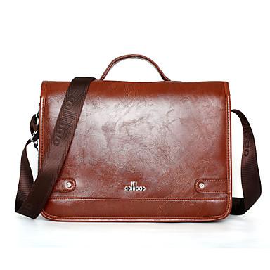 Ανδρικά Δερμάτινο / PU Τσάντα χειρός Συμπαγές Χρώμα Καφέ / Φθινόπωρο & Χειμώνας