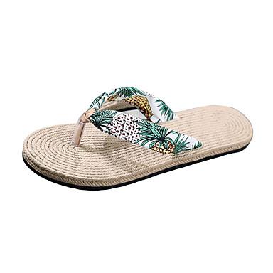 voordelige Damespantoffels & slippers-Dames Slippers & Flip-Flops Platte hak Open teen EVA / Katoen Informeel Zomer Blauw / Zwart / Geel / Wit  / Geel