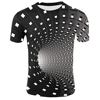 cheap Boys' Tops-Kids Toddler Boys' Active Basic Geometric Print Color Block Print Short Sleeve Tee Black