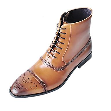 Ανδρικά Fashion Boots PU Καλοκαίρι / Φθινόπωρο & Χειμώνας Μπότες Μπότες στη Μέση της Γάμπας Μαύρο / Κίτρινο / Σκούρο καφέ