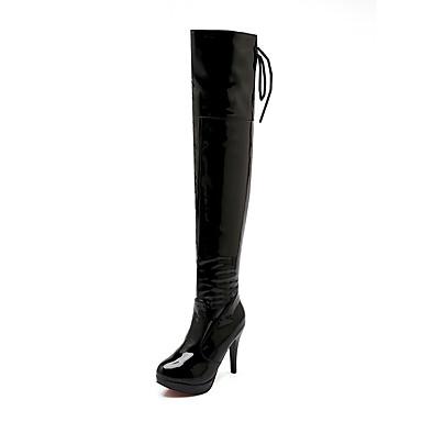 Dame Støvler Over-The-Knee Boots Stiletthæl Rund Tå Lakklær Lårhøye støvler Klassisk / minimalisme Høst vinter Svart / Hvit / Rød / Fest / aften