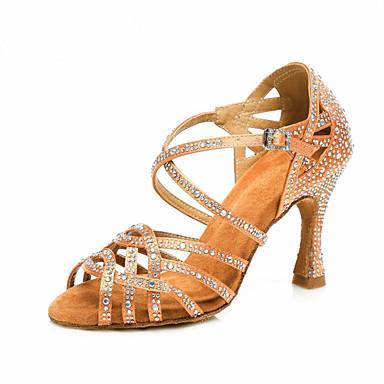 Γυναικεία Παπούτσια Χορού Σατέν Παπούτσια χορού λάτιν Τεχνητό διαμάντι / Κρύσταλλο / Στρας Τακούνια Τακούνι καμπάνα Εξατομικευμένο Καφέ / Επίδοση