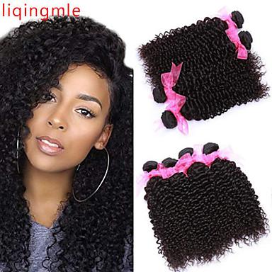 povoljno Ekstenzije od ljudske kose-6 paketića Brazilska kosa Kinky Curly Virgin kosa 100% Remy kose tkanja Bundle Ljudske kose plete Bundle kose Jedan Pack Solution 8-28inch Prirodna boja Isprepliće ljudske kose Odor Free Cool