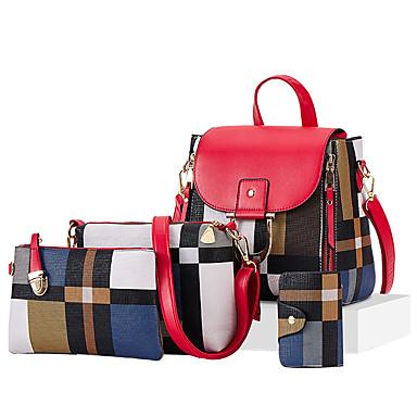 Γυναικεία Φερμουάρ PU Σετ τσάντα Δικτυωτό 4 σετ Σετ τσαντών Μαύρο / Καφέ / Λευκό / Φθινόπωρο & Χειμώνας
