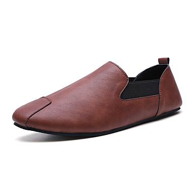 Ανδρικά Παπούτσια άνεσης PU Ανοιξη καλοκαίρι Δουλειά / Καθημερινό Μοκασίνια & Ευκολόφορετα Αναπνέει Μαύρο / Καφέ / Λευκό / Γραφείο & Καριέρα