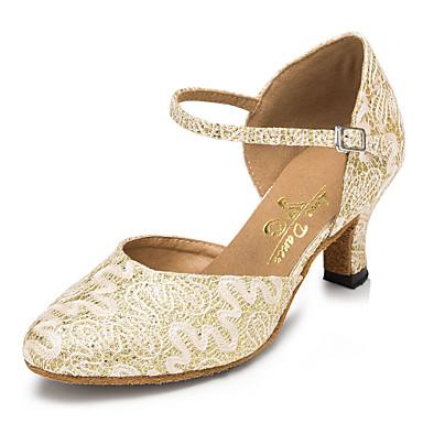 Dame Moderne sko / Ballett Blonder Ankel Stropp Høye hæler Blonder Kubansk hæl Kan spesialtilpasses Dansesko Gull / Trening