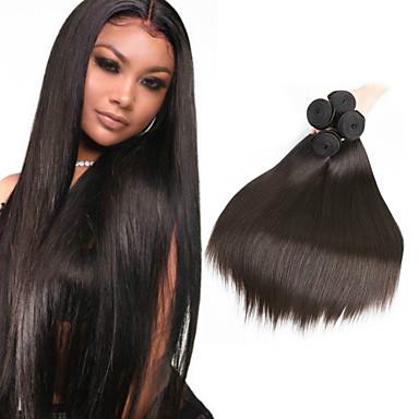6 πακέτα Περουβιανή Ίσιο 100% πακέτα Remy μαλλιών Υφάνσεις ανθρώπινα μαλλιών δέσμη μαλλιών Ένα πακέτο Λύση 8-28inch Φυσικό Χρώμα Υφάνσεις ανθρώπινα μαλλιών Χωρίς Οσμή Μαλακό Απίθανο / Αμεταποίητος