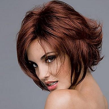 Συνθετικές Περούκες Σγουρά Ασύμμετρο κούρεμα Περούκα Μπορντώ Κοντό σκούρο κρασί Συνθετικά μαλλιά 8 inch Γυναικεία Πάρτι Γυναικεία Μπορντώ