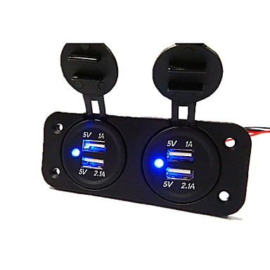 levne Auto Elektronika-Nabíječka do auta 5v 3.1a, dvoudírová nabíječka s vodotěsnými napájecími adaptéry 4 portů usb port