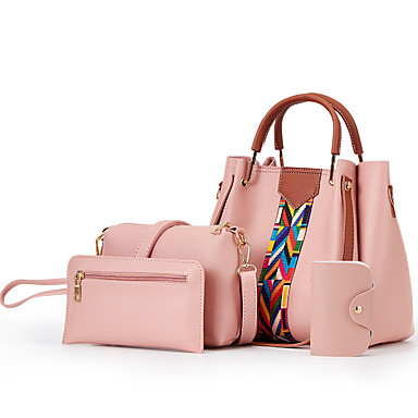 Γυναικεία Φερμουάρ PU Σετ τσάντα Συμπαγές Χρώμα 4 σετ Σετ τσαντών Μαύρο / Καφέ / Λευκό / Φθινόπωρο & Χειμώνας