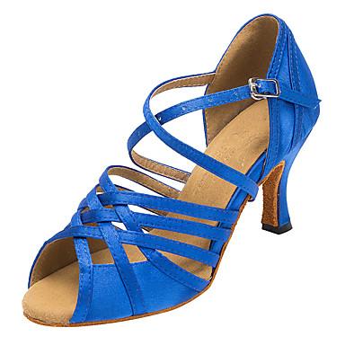 Női Dance Shoes Szatén Latin cipők Csat Magassarkúk Vastag sarok Személyre szabható Kék