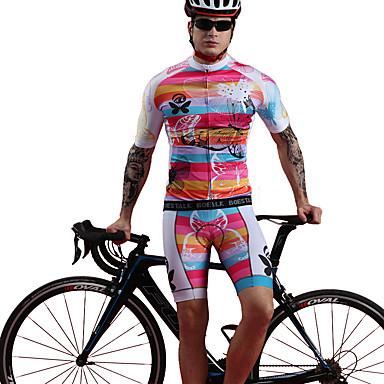 BOESTALK Ανδρικά Κοντομάνικο Αθλητική φανέλα και σορτς ποδηλασίας Λευκό Πεταλούδα Ποδήλατο Ρούχα σύνολα Αναπνέει Ύγρανση Γρήγορο Στέγνωμα Αθλητισμός Spandex Πεταλούδα Ποδηλασία Βουνού Ποδηλασία Δρόμου